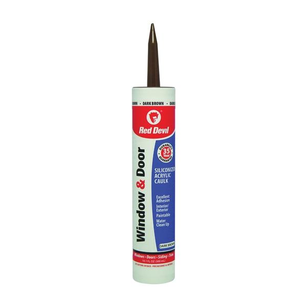 Picture of Red Devil 084640 Siliconized Acrylic Caulk, Dark Brown, -20 to 180 deg F, 10.1 fl-oz Package, Cartridge
