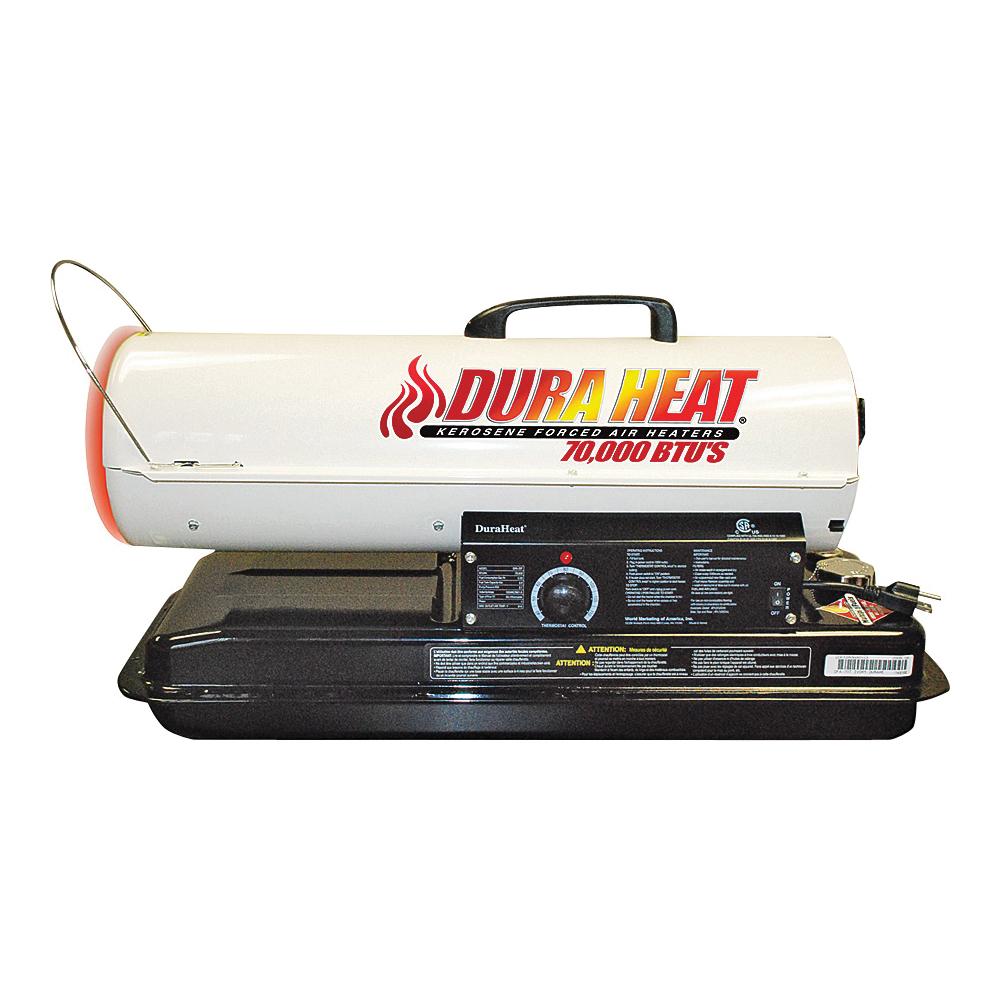 Picture of Dura Heat DFA80T/75T Kero Forced Air Heater with Thermostat, 5 gal Fuel Tank, Kerosene, 80000 Btu, White