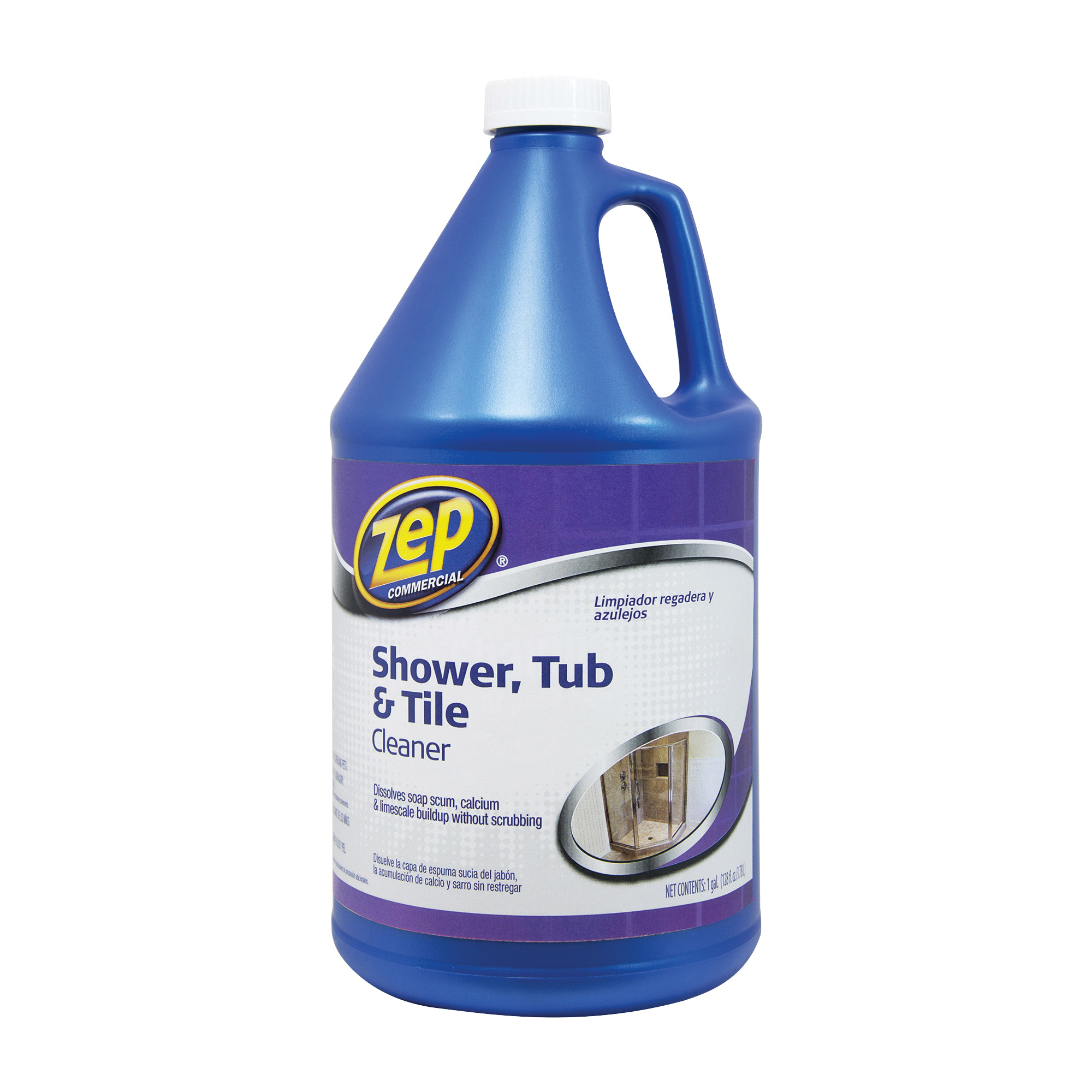 Picture of Zep ZUSTT128 Shower Tub and Tile Cleaner, 1 gal Package, Bottle, Liquid, Pleasant, Light Yellow