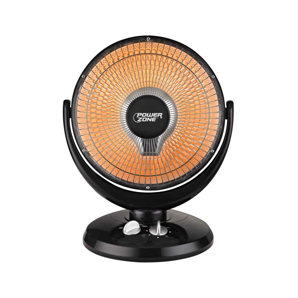 Picture of PowerZone DF1015 Oscillating Parabolic Heater, 6.7 A, 120 V, 400/800 W, 2-Heating Stage, Black