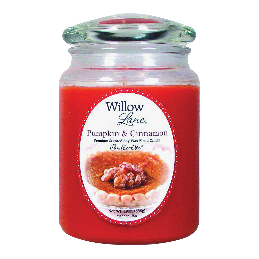 Picture of Willow Lane 1646951 Jar Candle, Pumpkin, Cinnamon Fragrance, WL Rust Candle, 75 to 115 hr Burning