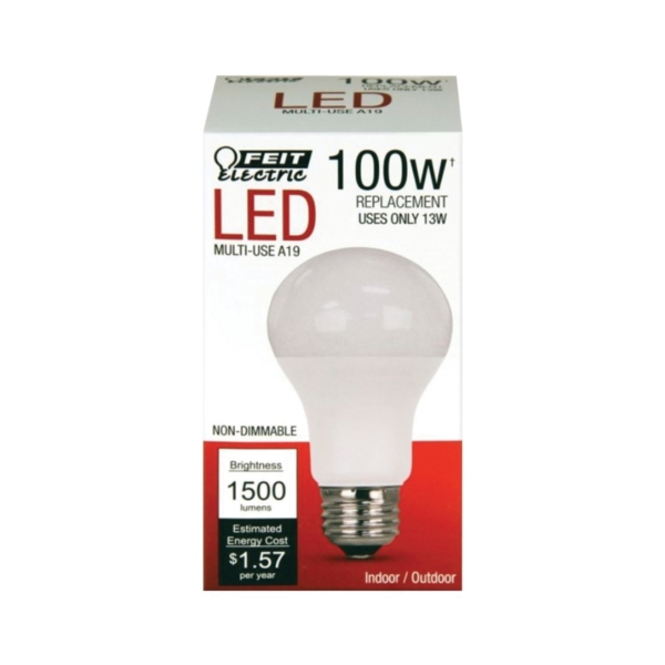 Picture of Feit Electric A1600/827/10KLED LED Lamp, 14.5 W, Medium E26 Lamp Base, A19 Lamp, Soft White Light, 1500 Lumens