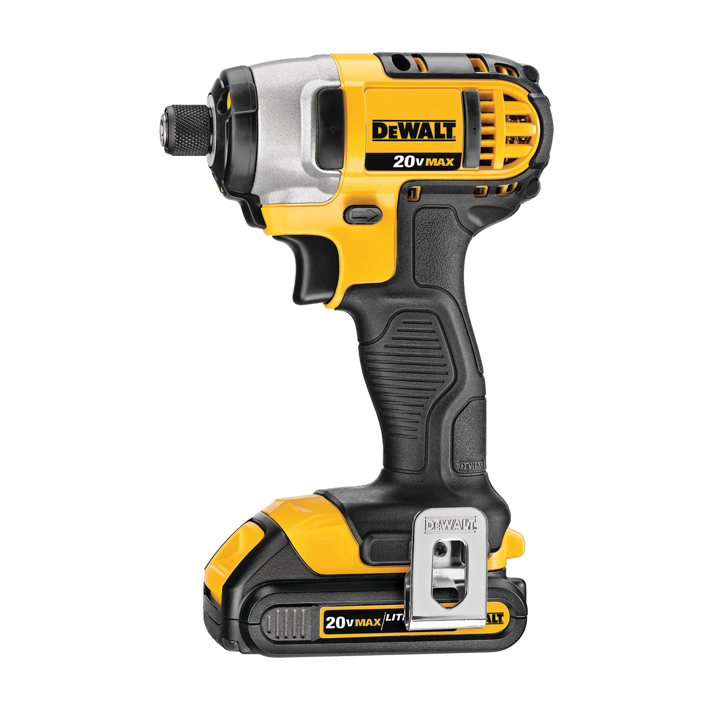 Picture of DeWALT DCF885C2 Impact Driver Kit, Kit, 20 V Battery, 1.5 Ah, 1/4 in Drive, Hex Drive, 3200 ipm IPM
