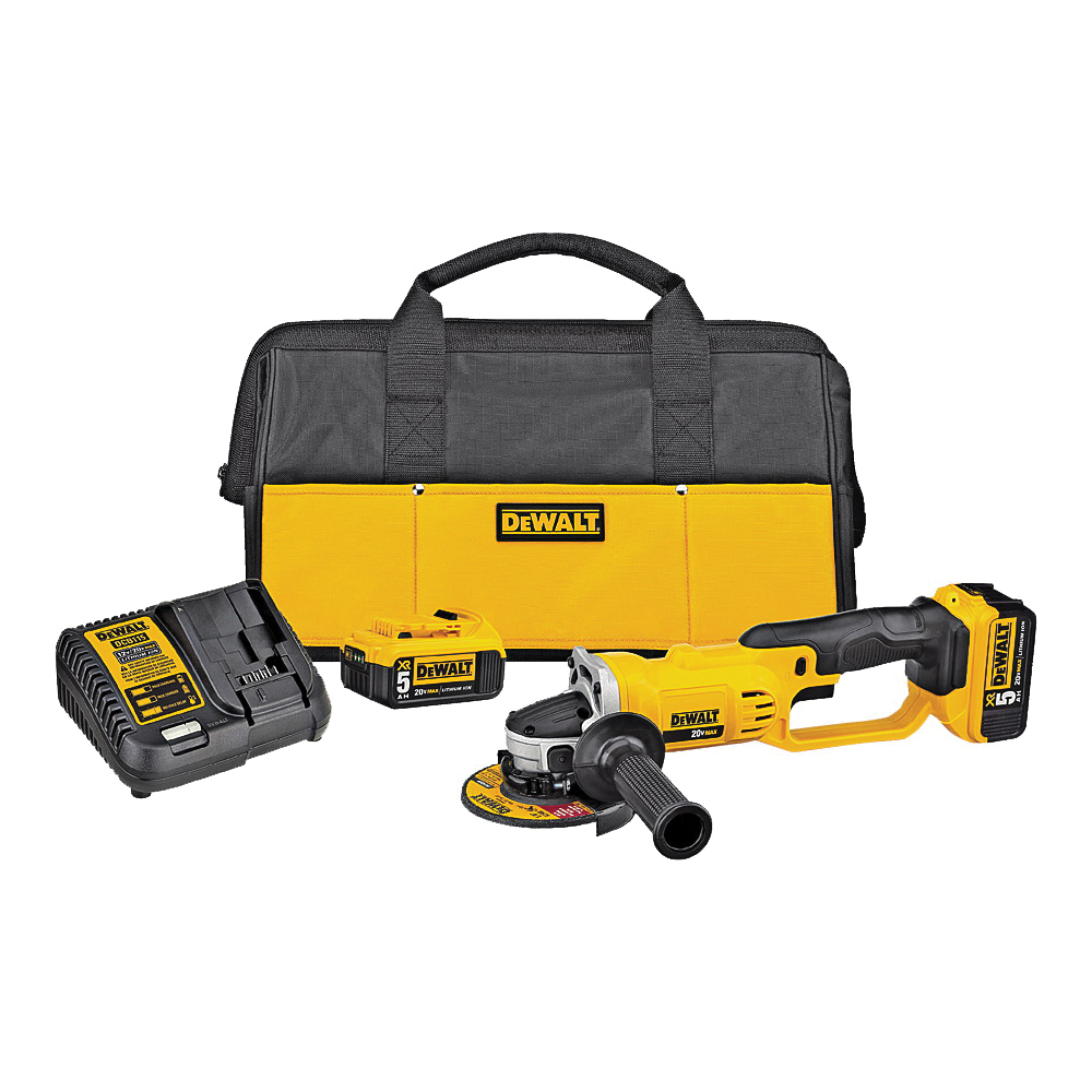 Picture of DeWALT DCG412P2 Angle Grinder Kit, Kit, 20 V Battery, 5 Ah, 5/8 in Spindle, 4-1/2 in Dia Wheel, 8000 rpm Speed
