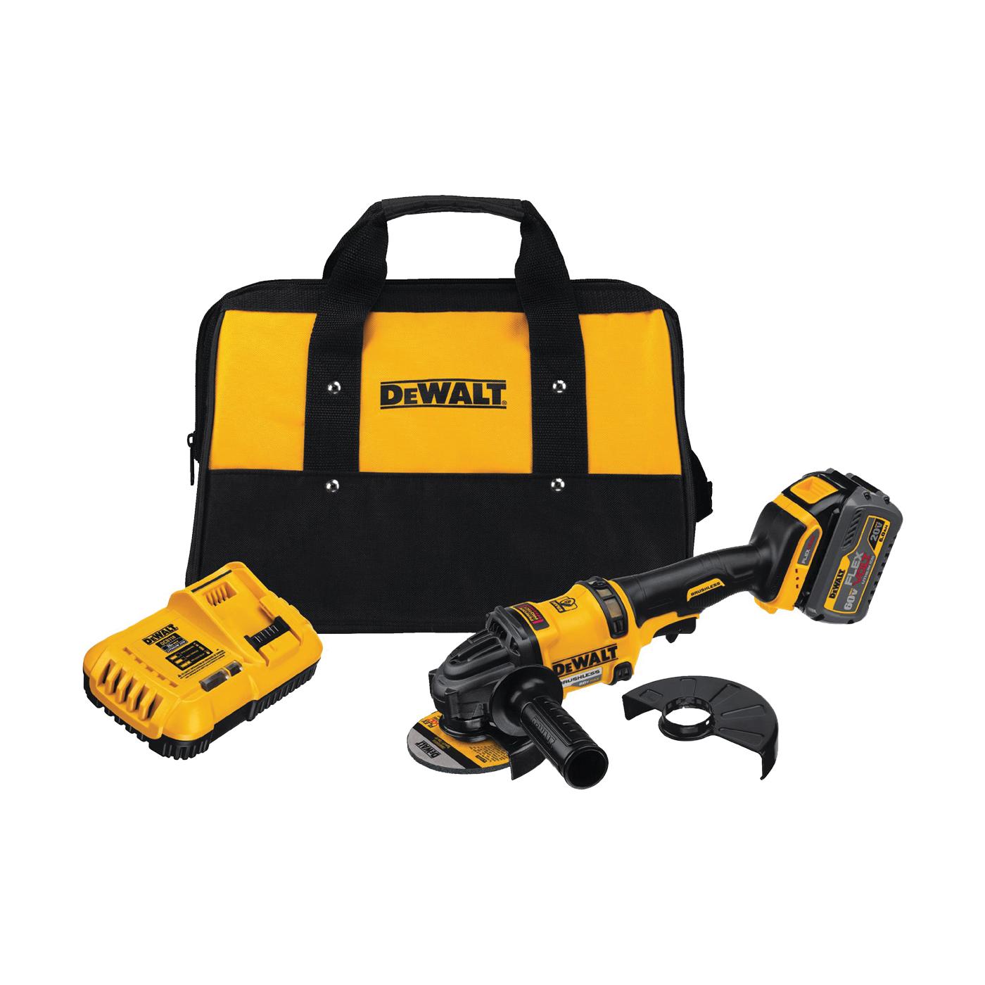 Picture of DeWALT FLEXVOLT DCG414T1 Angle Grinder Kit, Kit, 20 V Battery, 2, 6 Ah, 5/8 in Spindle, 4-1/2 in Dia Wheel