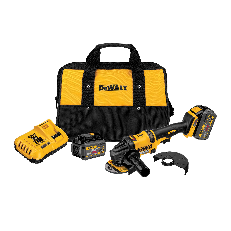 Picture of DeWALT FLEXVOLT DCG414T2 Angle Grinder Kit, Kit, 20 V Battery, 2, 6 Ah, 5/8 in Spindle, 4-1/2 in Dia Wheel