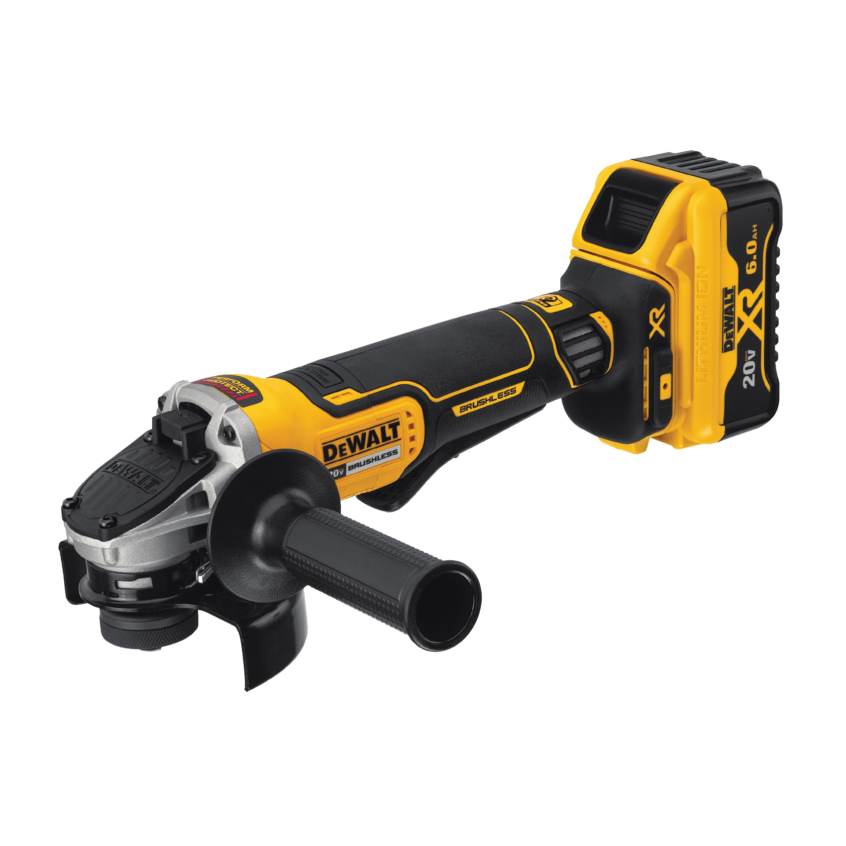 Picture of DeWALT DCG413R2 Angle Grinder Kit, Kit, 20 V Battery, 6 Ah, 5/8 in Spindle, 4-1/2 in Dia Wheel, 9000 rpm Speed