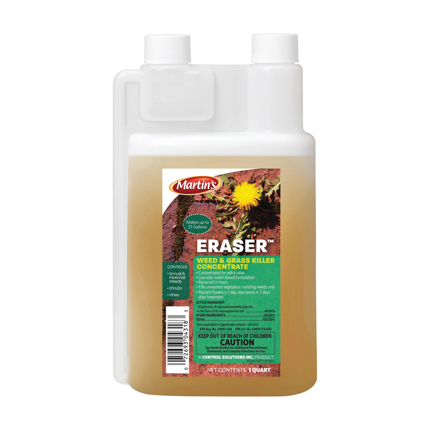Picture of Martin's 82004318 Weed and Grass Killer, Liquid, Clear, 1 qt Package
