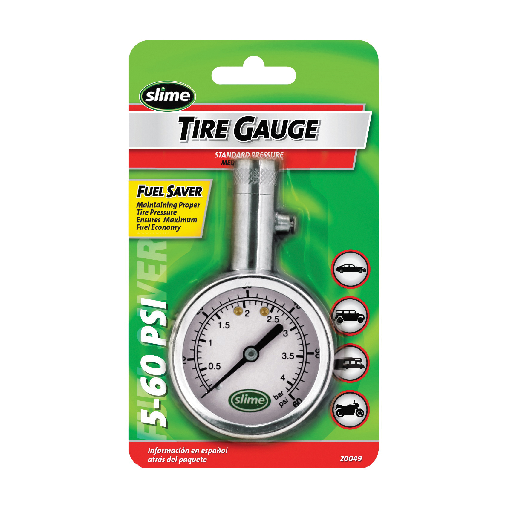 Picture of Slime 20049 Tire Gauge, 5 to 60 psi, Brass Gauge Case
