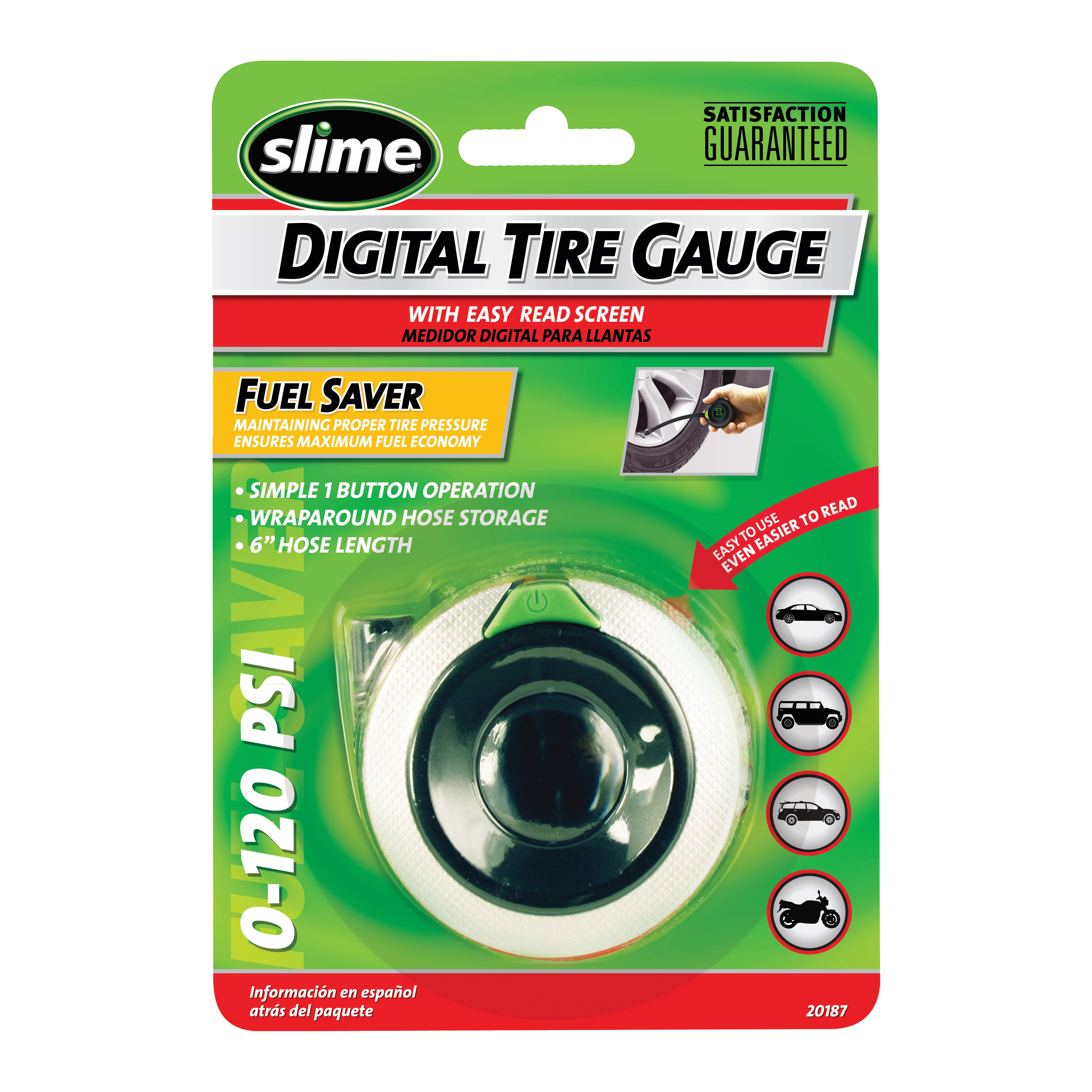 Picture of Slime 20187 Digital Tire Gauge, 0 to 120 psi