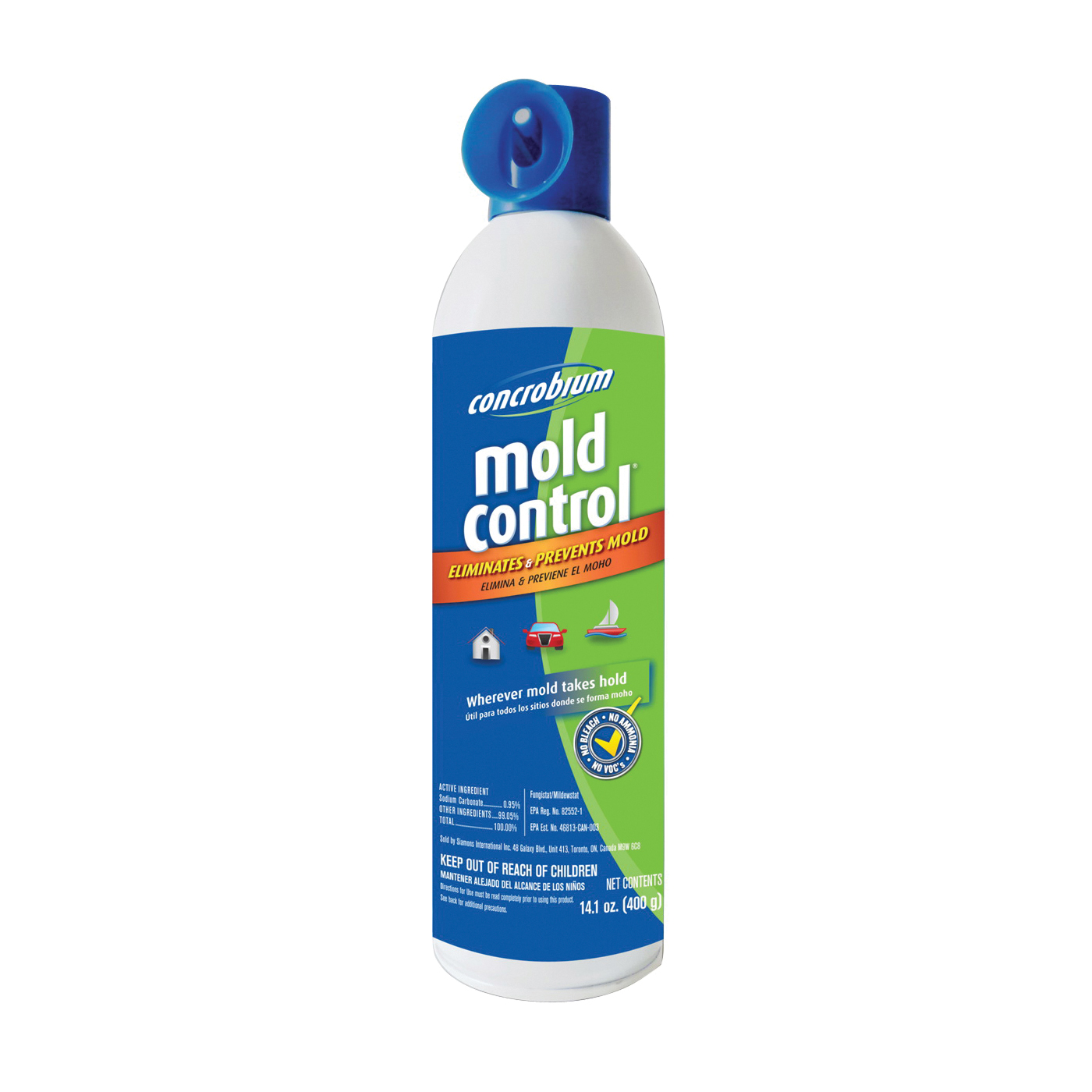 Picture of Concrobium 027-400 Mold Control, 14.1 oz Package, Aerosol Can, Liquid, Odorless, Clear
