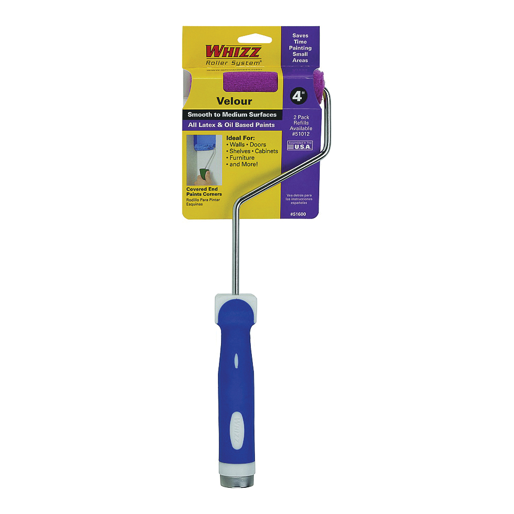 Picture of WHIZZ 51600 Mini Roller, 3/16 in Nap, Velour Cover, Soft Touch Handle, 4 in L Roller
