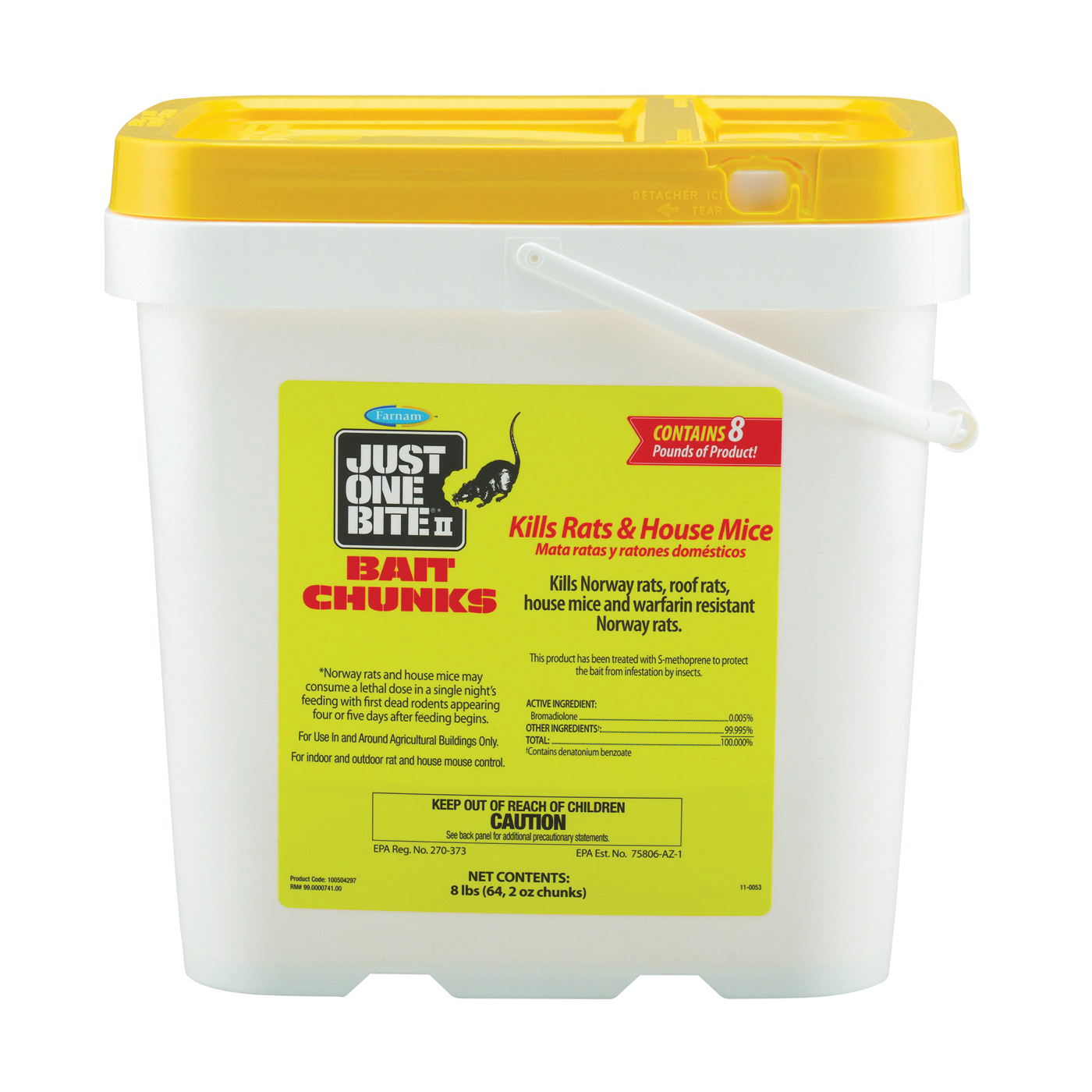 Picture of Starbar Just One Bite 100504297 Mouse and Rat Killer, Solid, 2 oz Package, Pail