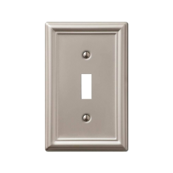 Picture of Amerelle 149TBN Wallplate, 4-7/8 in L, 3-1/8 in W, 1-Gang, Steel, Brushed Nickel
