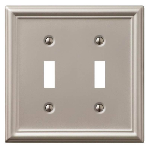 Picture of Amerelle 149TTBN Wallplate, 4-7/8 in L, 4-15/16 in W, 2-Gang, Steel, Brushed Nickel