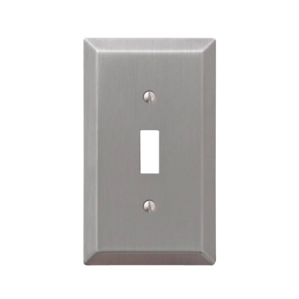 Picture of Amerelle 163TBN Wallplate, 4-15/16 in L, 2-7/8 in W, 1-Gang, Steel, Brushed Nickel