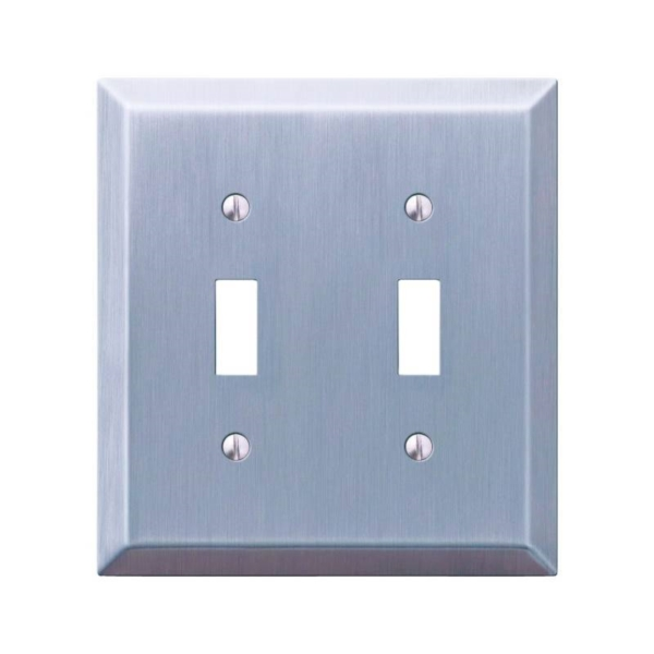 Picture of Amerelle 163TTBN Wallplate, 4-15/16 in L, 4-9/16 in W, 2-Gang, Steel, Brushed Nickel