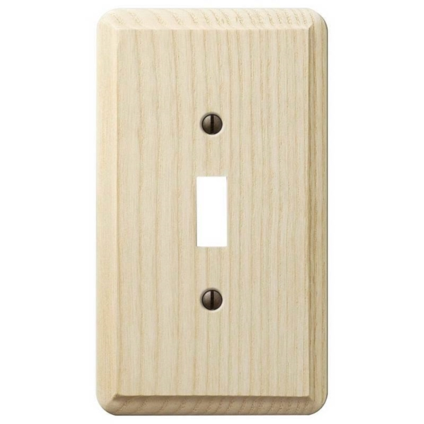 Picture of Amerelle 401T Wallplate, 5-1/4 in L, 3 in W, 1-Gang, Ash Wood, Unfinished