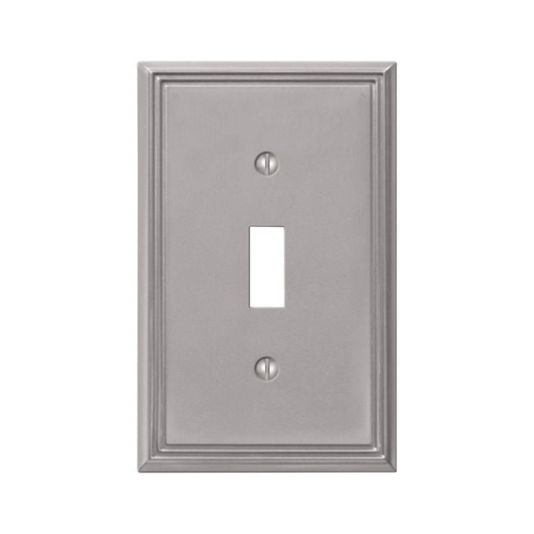 Picture of Amerelle 77TBN Wallplate, 4-7/8 in L, 3 in W, 1-Gang, Cast Metal, Brushed Nickel