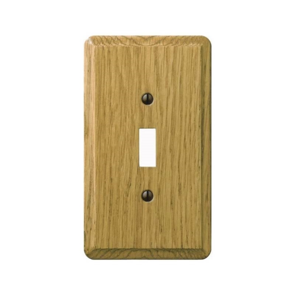 Picture of Amerelle 901TL Wallplate, 5-1/4 in L, 3 in W, 1-Gang, Oak Wood, Oak Wood