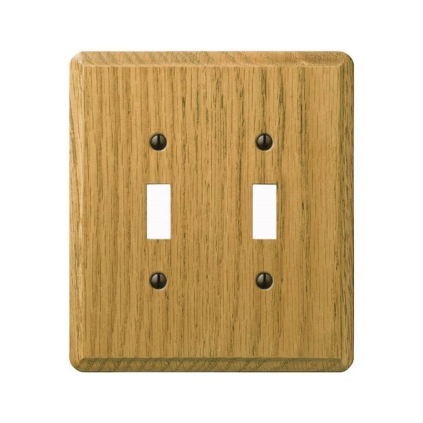 Picture of Amerelle 901TTL Wallplate, 5-3/8 in L, 4-7/8 in W, 2-Gang, Oak Wood, Oak Wood