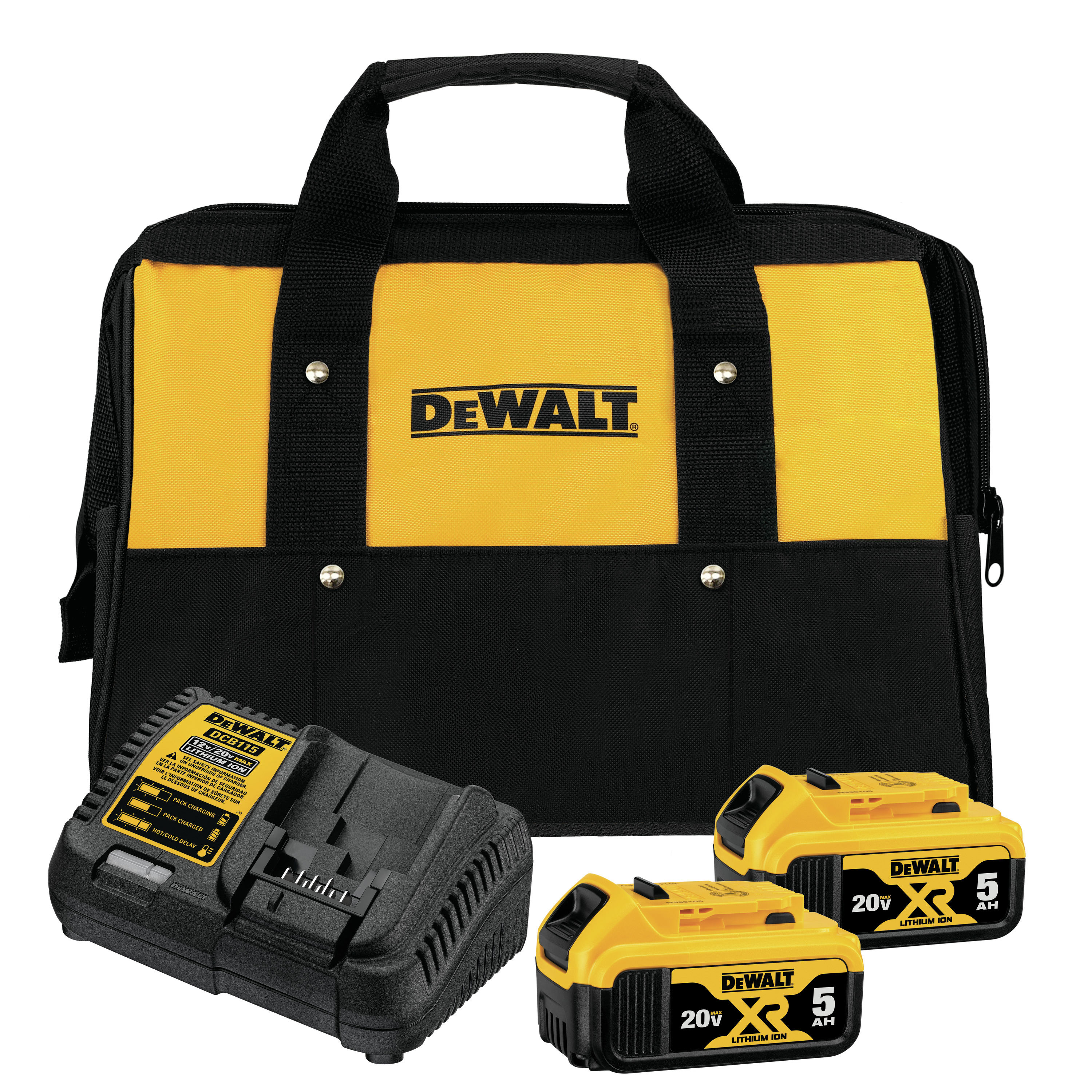 Picture of DeWALT DCB205-2CK Starter Kit, 4 A Charge, 5 Ah, 1 hr Charge, 2 -Battery, Battery Included: Yes