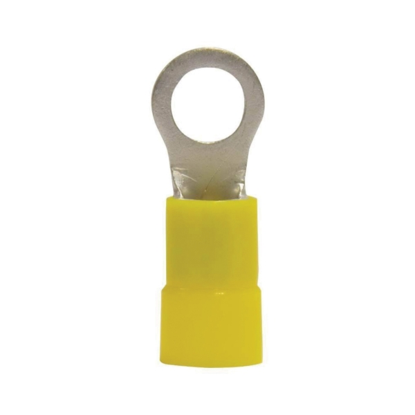 Picture of GB 14-098 Ring Terminal, 600 V, 4 AWG Wire, 3/8 in Stud, Vinyl Insulation, Yellow, 4/CD