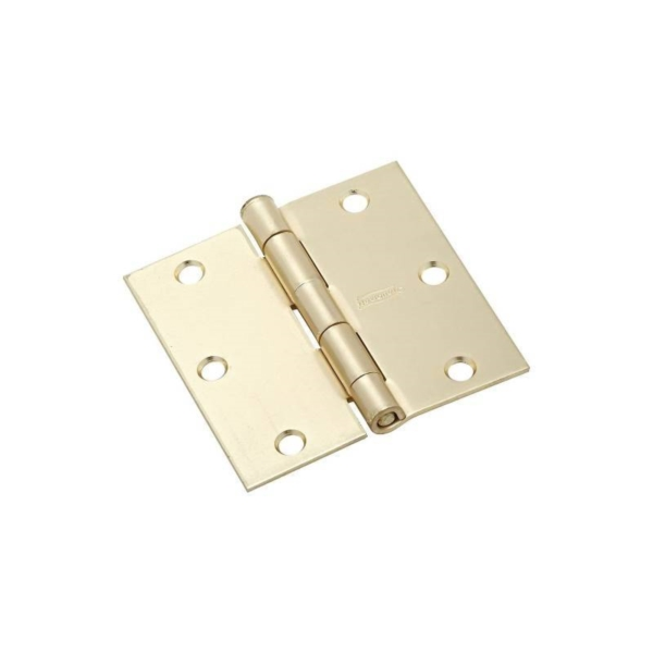 Picture of National Hardware N176-628 Door Hinge, 3-1/2 in H Frame Leaf, Steel, Satin Brass, Wall Mounting, 50 lb
