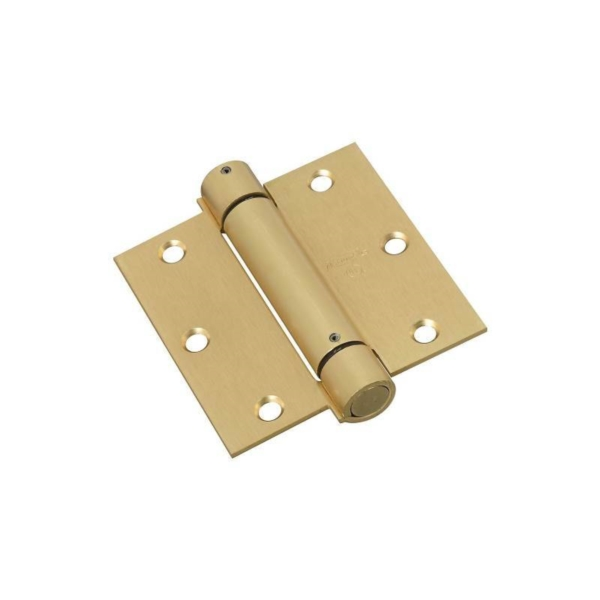 Picture of National Hardware N184-556 Spring Hinge, 3-1/2 in H Frame Leaf, Steel, Brass, Removable Pin, Wall Mounting, 30 lb
