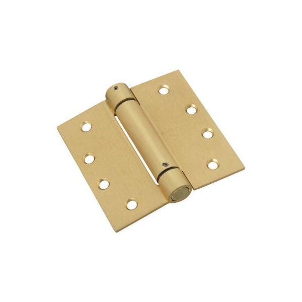 Picture of National Hardware N184-572 Spring Hinge, 4 in H Frame Leaf, Steel, Brass, Removable Pin, Wall Mounting, 37 lb