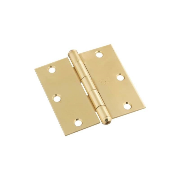 Picture of National Hardware N195-685 Square Corner Door Hinge, 3-1/2 in H Frame Leaf, Brass, Solid Brass, Non-Rising Pin