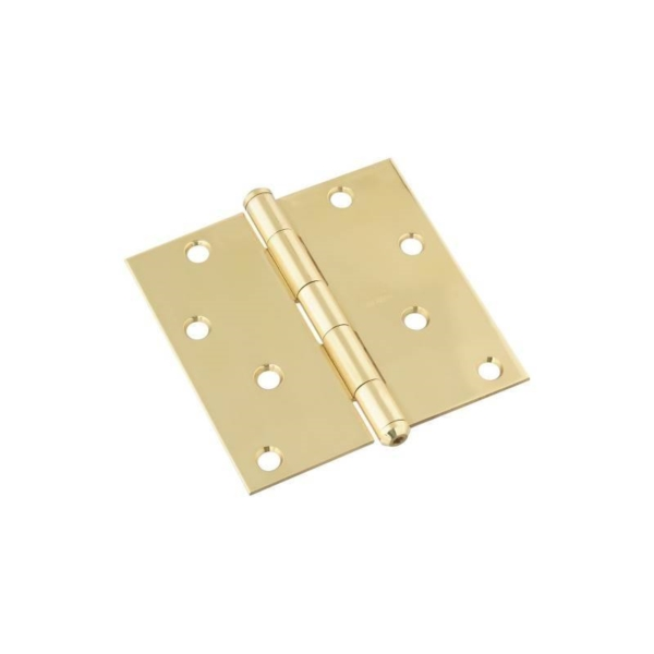 Picture of National Hardware N195-693 Square Corner Door Hinge, 4 in H Frame Leaf, Brass, Solid Brass, Non-Rising Pin, 28 lb