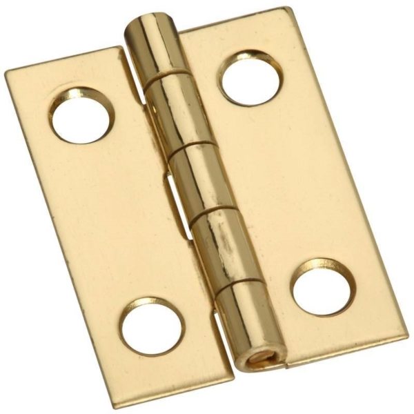 Picture of National Hardware N211-177 Decorative Narrow Hinge, 1 in H Door Leaf, 0.02 in Thick Door Leaf, Brass, Solid Brass