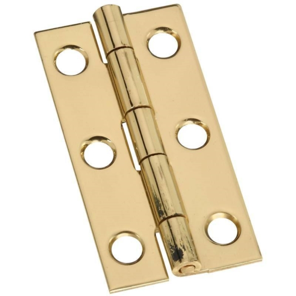 Picture of National Hardware N211-235 Decorative Narrow Hinge, 2 in H Door Leaf, 0.04 in Thick Door Leaf, Brass, Solid Brass