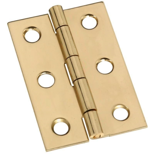 Picture of National Hardware N211-375 Decorative Broad Hinge, 2 in H Door Leaf, 0.04 in Thick Door Leaf, Brass, Solid Brass