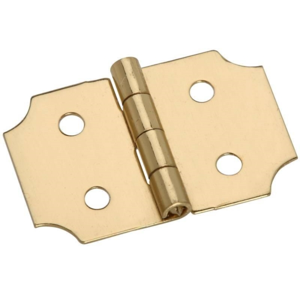 Picture of National Hardware N211-441 Decorative Hinge, 0.62 in H Door Leaf, 0.02 in Thick Door Leaf, Brass, Solid Brass