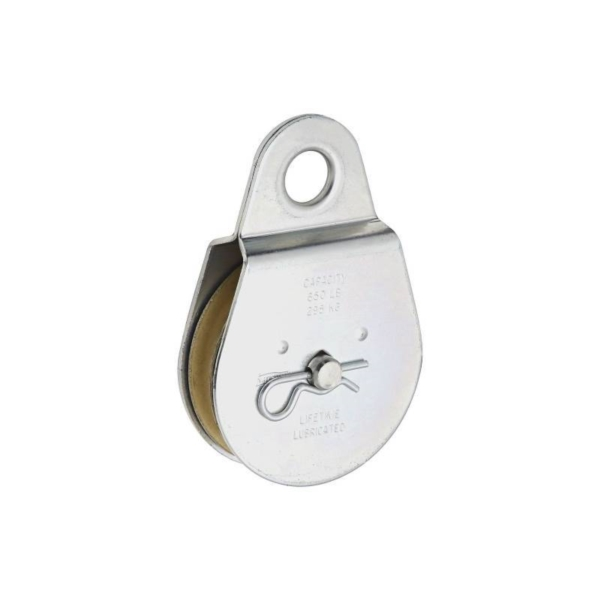 Picture of National Hardware N220-020 Single Pulley, 1/2 in Rope, 650 lb Working Load, 3 in Sheave, Zinc