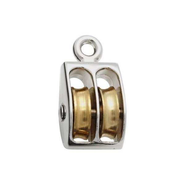 Picture of National Hardware N223-420 Double Pulley, 1/4 in Rope, 30 lb Working Load, 1 in Sheave, Swivel Eye Attachment