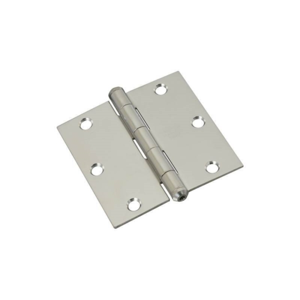 Picture of National Hardware N225-920 Square Corner Door Hinge, 3-1/2 in H Frame Leaf, Stainless Steel, Stainless Steel, 55 lb