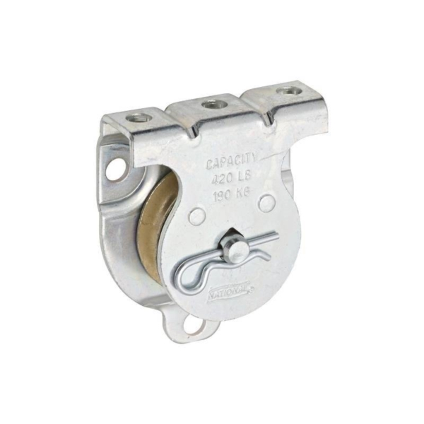 Picture of National Hardware N233-247 Single Pulley, 3/8 in Rope, 420 lb Working Load, 1-1/2 in Sheave, Zinc