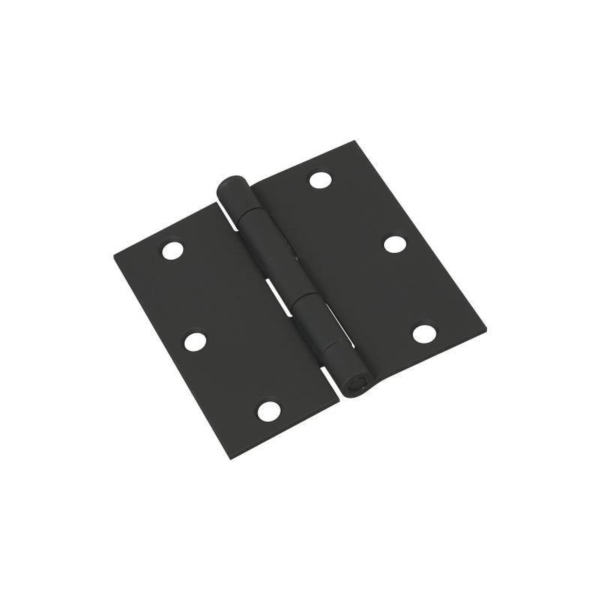 Picture of National Hardware N241-190 Square Corner Door Hinge, 3-1/2 in H Frame Leaf, Cold Rolled Steel, Full-Mortise Mounting