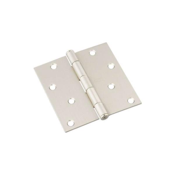 Picture of National Hardware N325-282 Square Corner Door Hinge, 4 in H Frame Leaf, Cold Rolled Steel, Satin Nickel, 55 lb