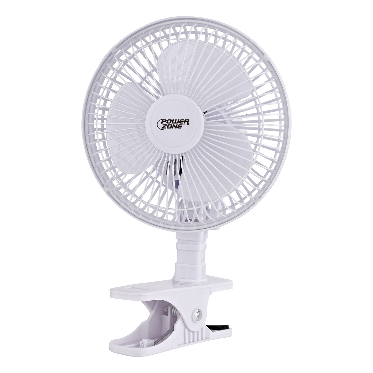 Picture of PowerZone F-0645 Clip-on Oscillating Portable Fan, 120 VAC, 6 in Dia Blade, 3-Blade, 2-Speed, 2 Speed, White