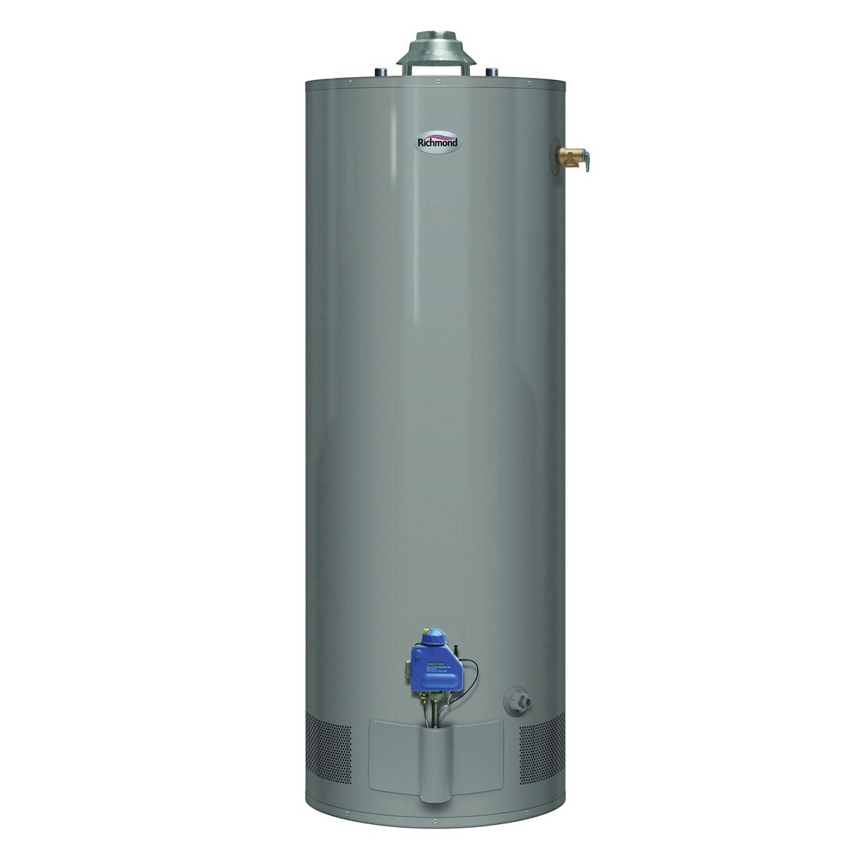Picture of Richmond Essential 6G30S-30F3 Gas Water Heater, Natural Gas, 40 gal Tank, 52 gph, 30000 Btu/hr BTU, Dark Warm Gray