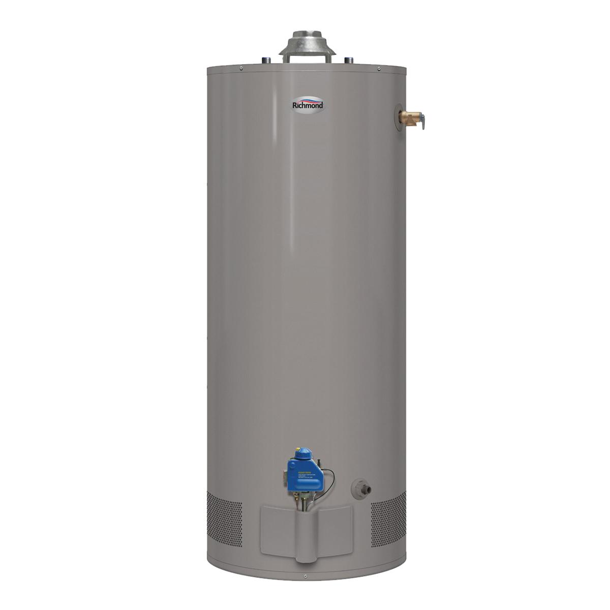 Picture of Richmond Essential 6G40S-34F3 Gas Water Heater, Natural Gas, 40 gal Tank, 65 gph, 34000 Btu/hr BTU, Dark Warm Gray