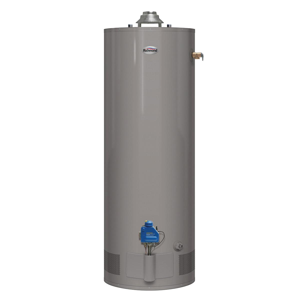 Picture of Richmond Essential 6G40-36F3 Gas Water Heater, Natural Gas, 40 gal Tank, 52 gph, 36000 Btu/hr BTU, Dark Warm Gray