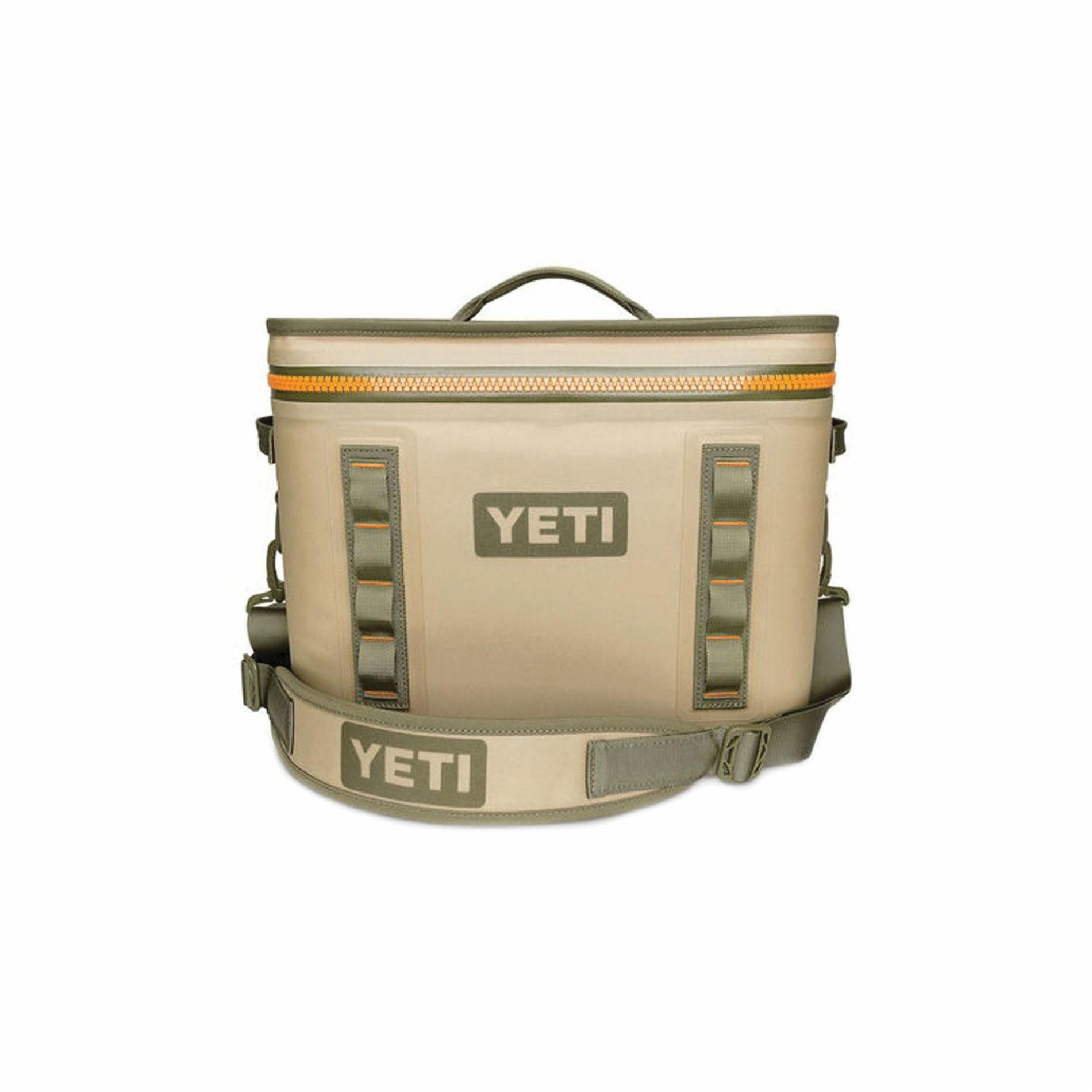 Picture of YETI Hopper Flip YHOPF18T Soft Bag Cooler, 20 Cans Capacity, Blaze Orange/Field Tan