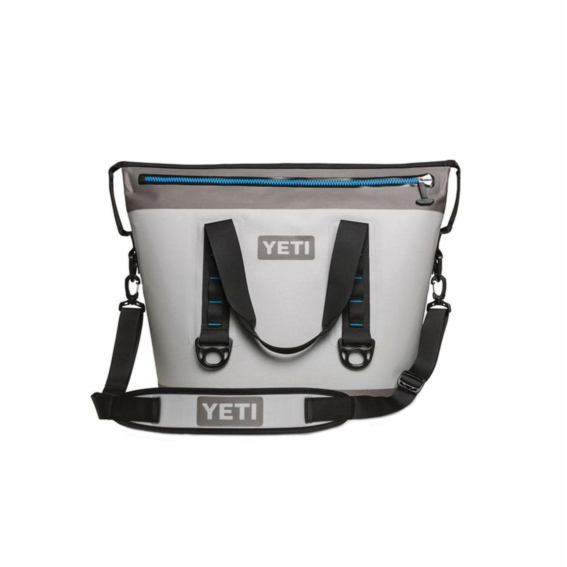 Picture of YETI YHOPT30G Soft Bag Cooler, 23 Cans Capacity, Fog Gray/Tahoe Blue