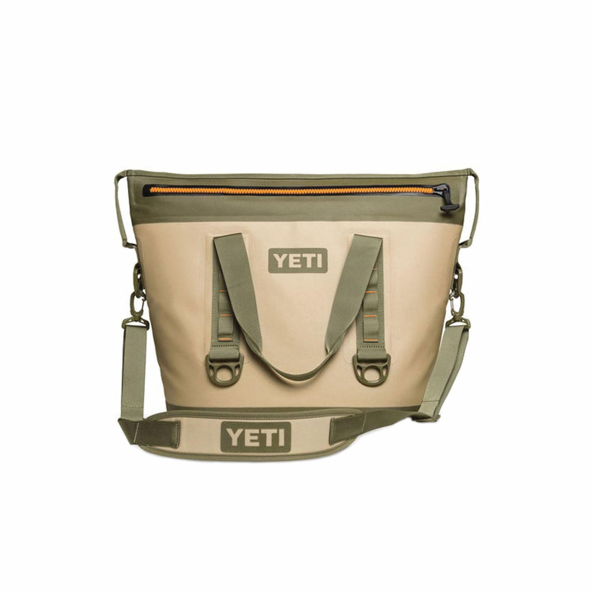 Picture of YETI YHOPT30T Soft Bag Cooler, 23 Cans Capacity, Blaze Orange/Field Tan
